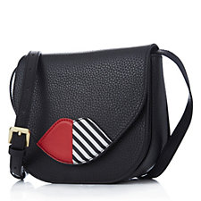 160721 - Lulu Guinness Large Zoe Grainy Leather 50:50 Lip Crossbody Bag