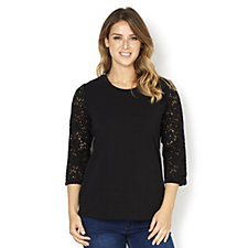 Denim & Co. Perfect Jersey 3/4 Lace Sleeve Top