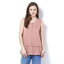 Logo Lounge French Terry Top with Peplum Detail