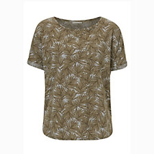 Betty & Co Turn Up Sleeve Palm Print Top