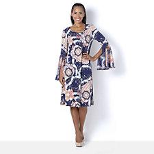 Coco Bianco Printed Dress w/ Chiffon Sleeves & Fluted Hem