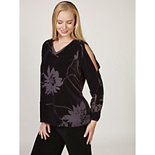 H by Halston Velvet Floral Burnout Long Sleeve Top