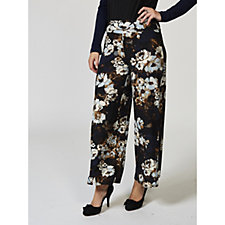 Kim & Co Floral Masterpeice Brushed Venechia Palazzo Trousers Petite