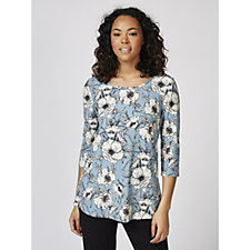 Kim & Co Brushed Venechia Etched Poppy Crew Neck Top