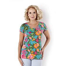 Isaac Mizrahi Live Short Sleeve Floral Print T-Shirt