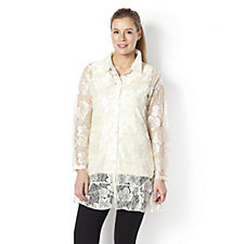 157622 - Enchanted Lace Shirt with Frill Hem by Michele Hope