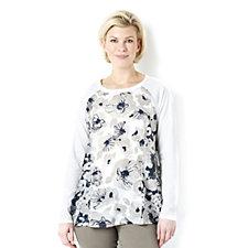 Diane Gilman Floral Print Insert Jersey Top
