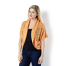 Absolutely Famous Slub Pointelle Shawl Collar Shrug
