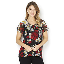 Butler & Wilson Red & White Flowers Black Chiffon Top