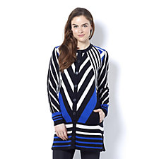 Isaac Mizrahi Live Patchwork Stripe Jacquard Knitted Jacket