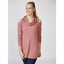 Attitudes by Renee Cowl Neck Cold Shoulder Ribbed Tunic