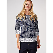 Denim & Co. Printed Jersey 3/4 Sleeve Top with Contrast Trim