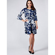 Grace 3/4 Frilled Sleeve Printed Chiffon Dress