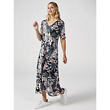 Kim & Co Tie Dye Floral Brazil Knit Hi Low Hem Elbow Sleeve Dress
