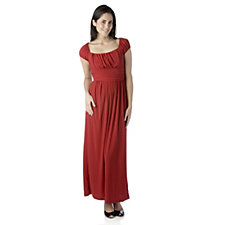 Tiana B Short Sleeve Maxi Dress with Ruched Bodice