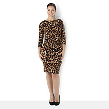 Ronni Nicole 'O So Slim' 3/4 Sleeve Animal Print Dress