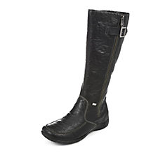 Rieker Warm Lined Calf Length Boot with Zip & Buckle Detail