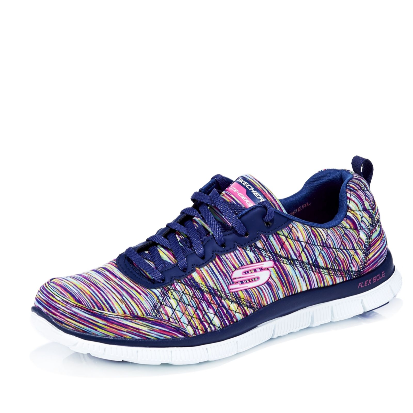 Skechers Flex Appeal Space Dyed Lace Up Trainer with Memory Foam - 157523