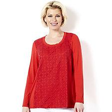 Sigrid Olsen Studio Harlequin Lace Jersey Top