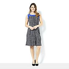 Sleeveless Printed Dress with Solid Neckline by Nina Leonard