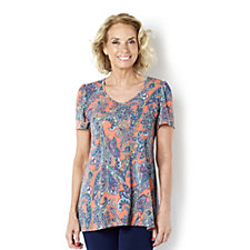 Kim & Co Fresh Paisley Brazil Knit Short Sleeve Flared Top