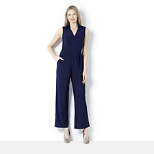 Tie Waist Jumpsuit with Collar by Nina Leonard