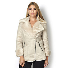 Centigrade Faux Shearling Jacket with Faux Fur Trim