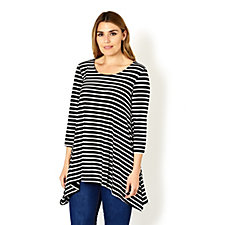3/4 Sleeve Stripe Tunic with Cross Back by Nina Leonard