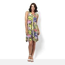 Mr Max Printed Sleeveless Brazil Knit Tunic Dress with Ruffle Front