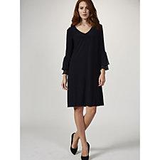 Coco Bianco Long Sleeve Shift Dress with Double Ruffle Cuff