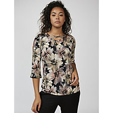 Mr Max Floral Printed Venice Knit Top with Criss Cross Detail