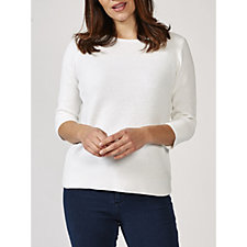Marble Textured Boat Neck 3/4 Sleeve Fitted Sweater