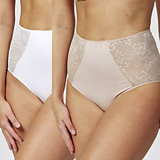 Vercella Vita Medium Control Lace Panel Detail Briefs Pack of 2