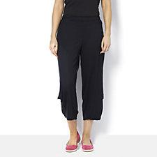 Yong Kim Modal Crop Trousers with Leg Pleat Detail