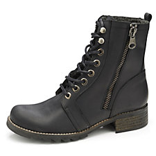 Adesso Ginger Leather Military Boot w/ Lace Up Front & Side Zip