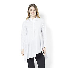 Yong Kim Stretch Poplin Button Through Shirt with Asymmetric Hem
