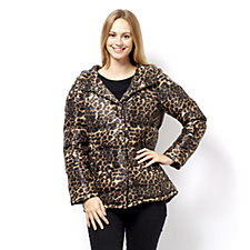 Centigrade Leopard Print Seamless Down Coat