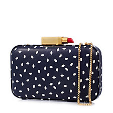 Lulu Guinness Fifi Mini Lip Print Leather Clutch Bag