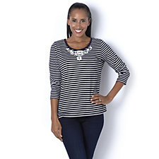 Fashion by Together Stripe Top with Floral Embellishment