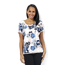 Short Sleeve Scoop Neck Printed Crepe Top by Nina Leonard