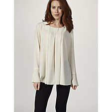 Logo by Lori Goldstein Woven Top with Inverted Pleats & Flounce Cuff