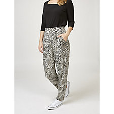 Kim & Co Leopard Breeze Brazil Knit Pleated Trousers with Pockets