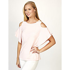 Mr Max Brazil Knit Flutter Sleeve Cold Shoulder Top