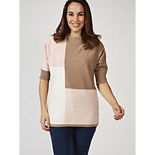 Marble Colour Block Jumper with Elbow Sleeve