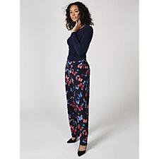 Kim & Co Brushed Venechia Printed Petite Trousers