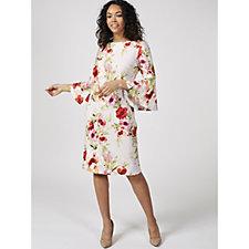 Ronni Nicole Bell Sleeve Printed Scuba Dress