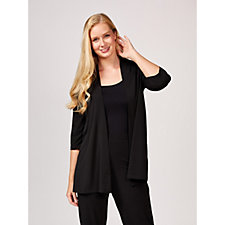 Kim & Co Brazil Knit 3/4 Sleeve Long Cardigan with Side Slits