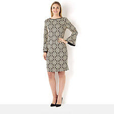 Tiana B Bell Sleeve Jacquard Dress with Faux Leather Trim