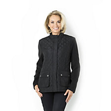 Centigrade Zip Front Quilted Jacket with Knit Sleeves