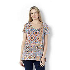 Printed Hi Low Hem Tunic with Solid Back Panel by Nina Leonard